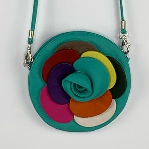 Vera Pelle Leather Round Flower Shaped Purse Teal